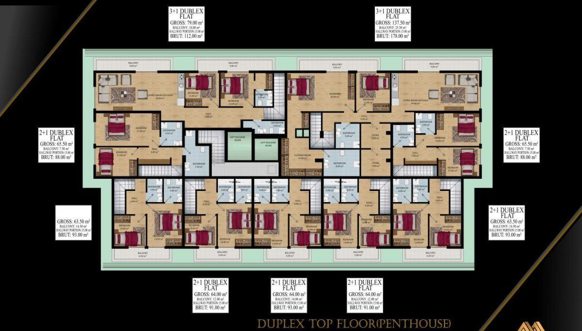 Жилой комплекс с квартирами в стиле Лофт, 600м от пляжа, Авсаллар - Фото 13