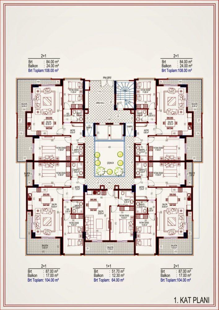 2 квартиры планировкой 2+1 в самом центре Алании - Фото 14
