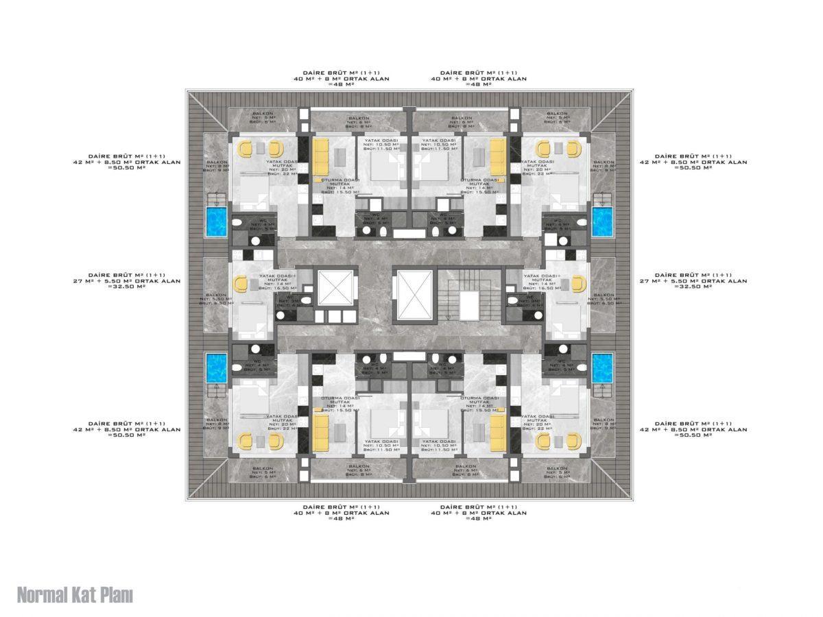 Новый стильный комплекс в Центре Алании  - Фото 25