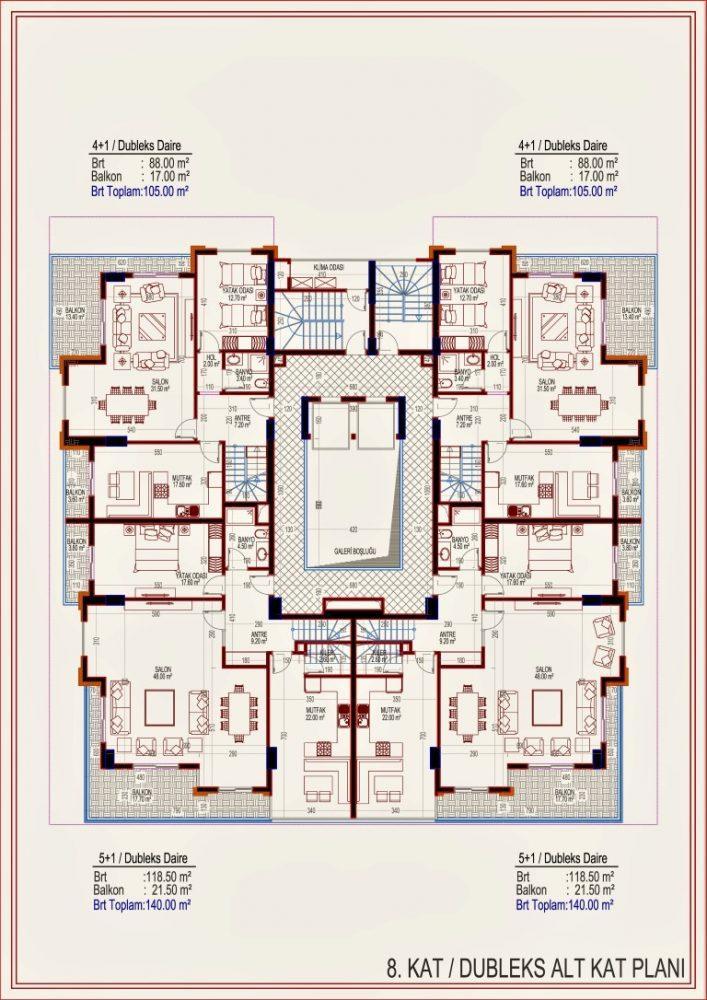 2 квартиры планировкой 2+1 в самом центре Алании - Фото 15