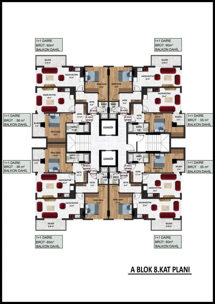 Новый жилой комплекс на этапе строительства в центре Алании - Фото 28