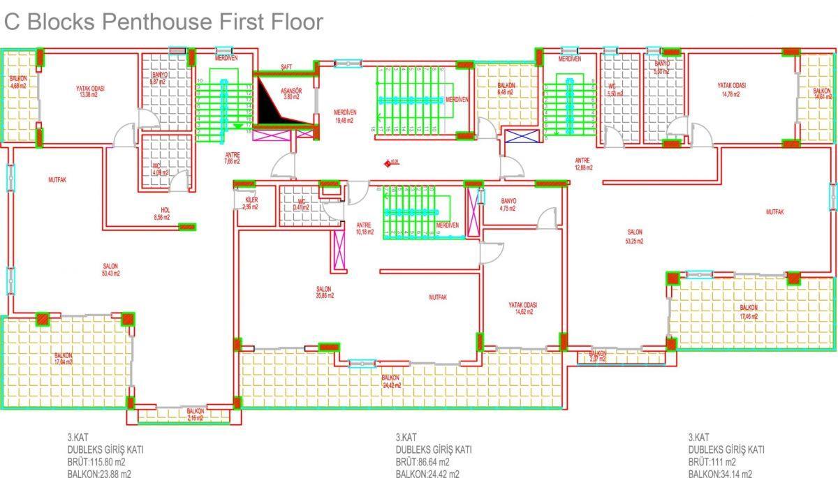 Многофункциональный комплекс апартаментов и вилл класса люкс в районе Каргыджак  - Фото 40