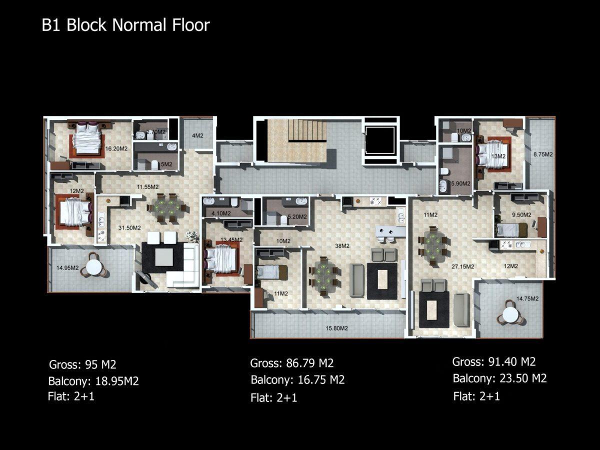 Многофункциональный комплекс апартаментов и вилл класса люкс в районе Каргыджак  - Фото 34