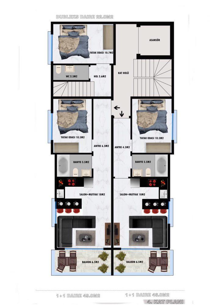 Апартаменты по выгодным ценам от застройщика в центре Алании близко к морю - Фото 21