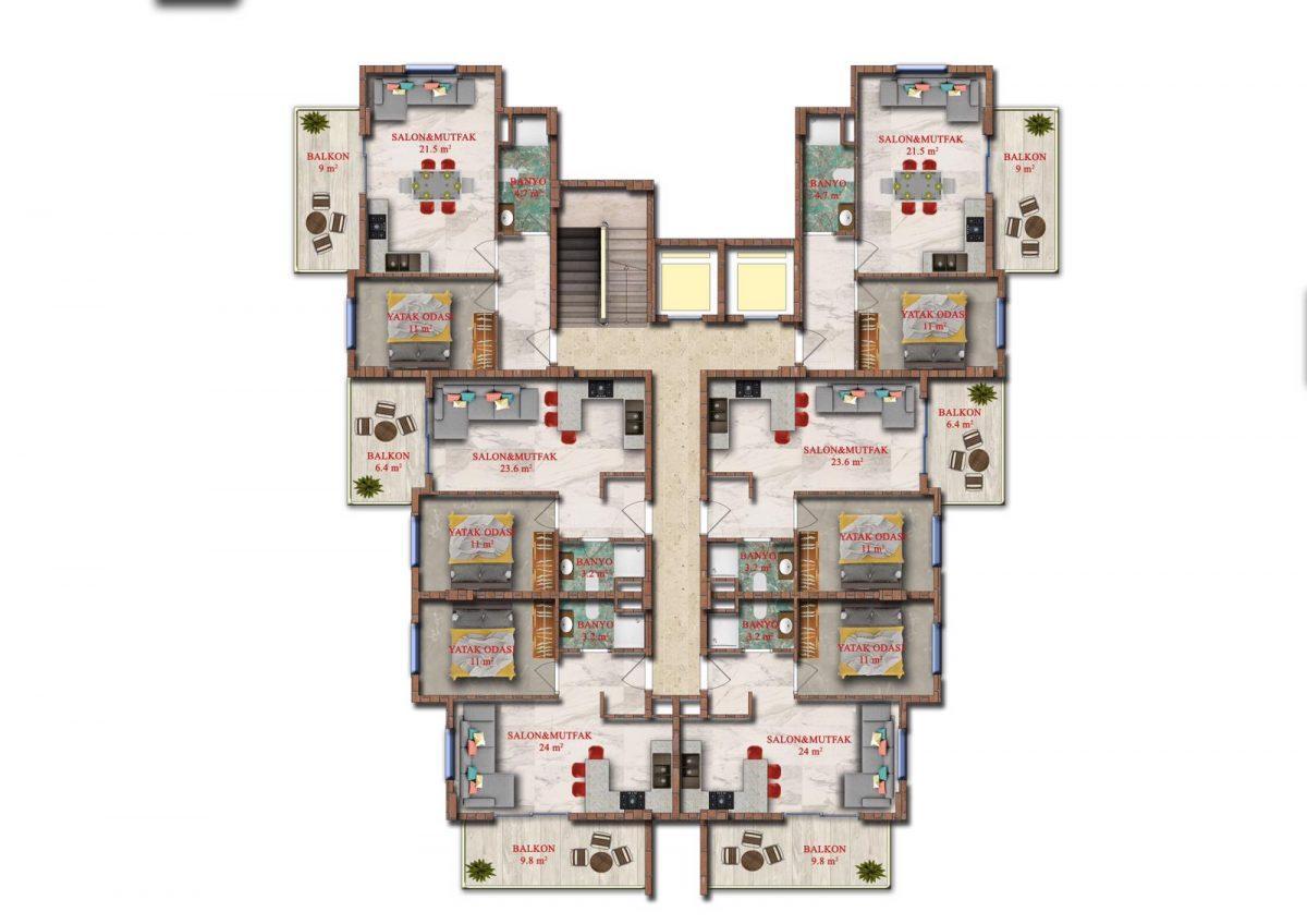 Квартиры в строящемся комплексе района Авсаллар - Фото 14