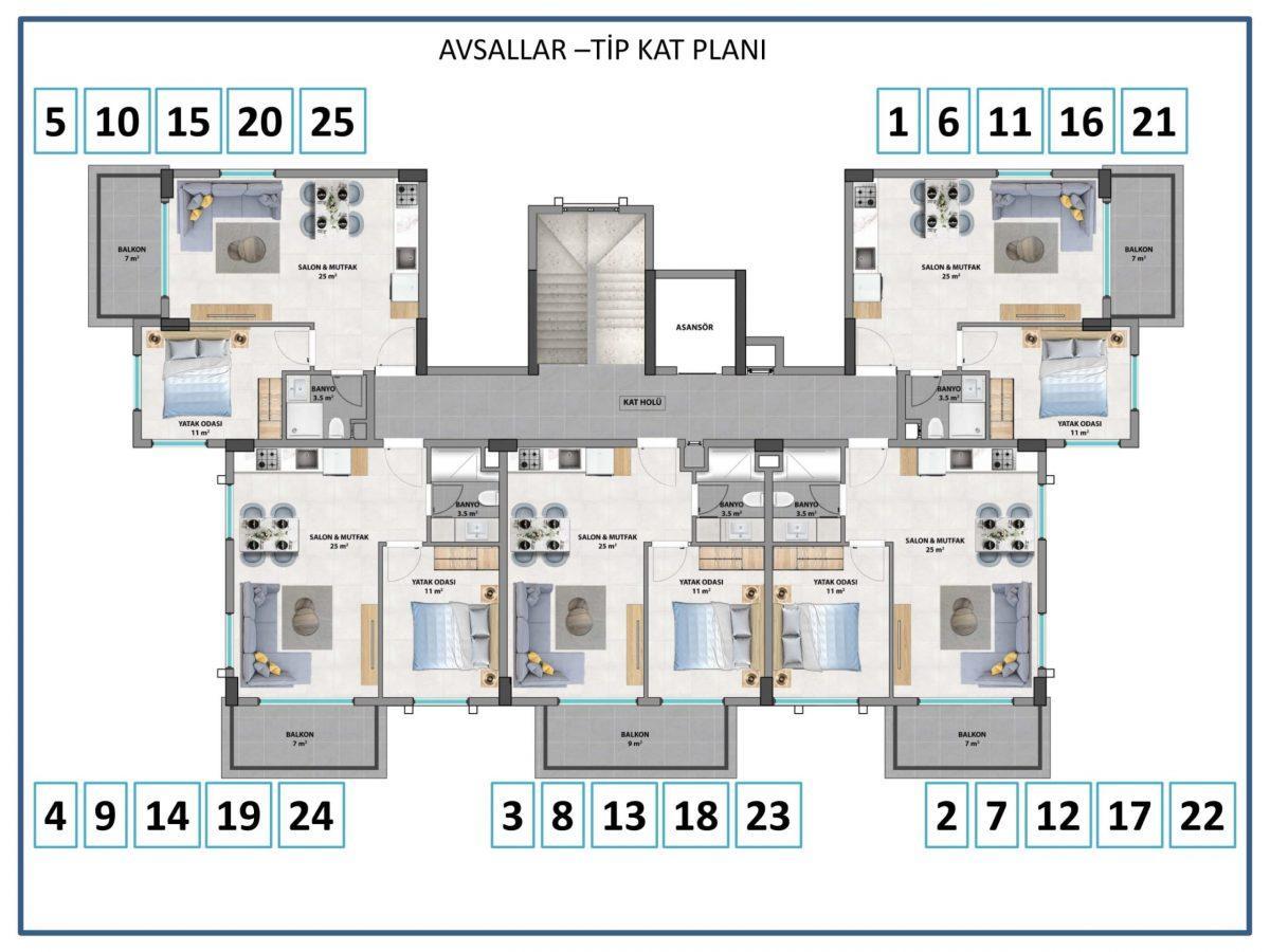 Апартаменты в новом комплексе в Авсалларе - Фото 9