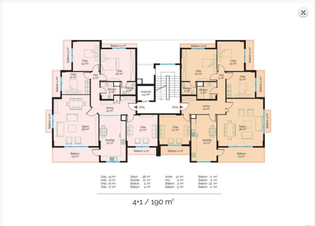 Просторная квартира с четырьмя спальнями в европейском районе Оба - Фото 53