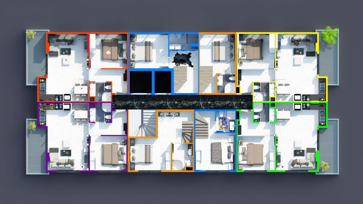 Инвестиционные двухуровневые пентхаусы  3+1 в Махмутлар - Фото 43