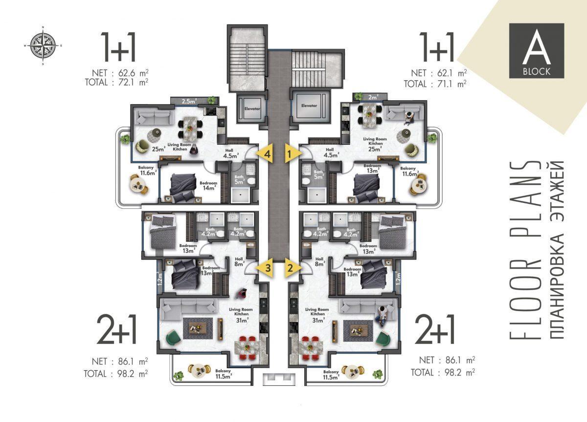 Квартиры в новом ЖК в центре Махмутлара - Фото 41