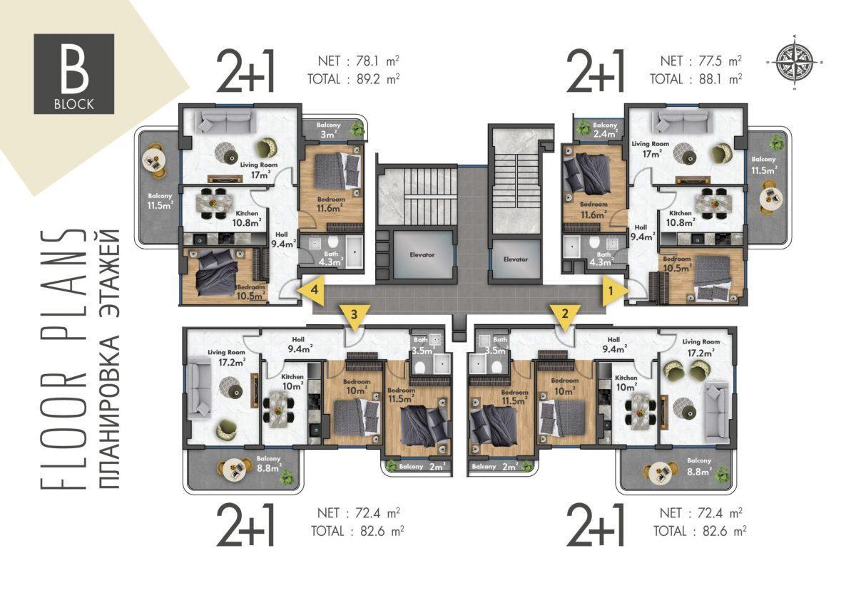 Квартиры в новом ЖК в центре Махмутлара - Фото 42