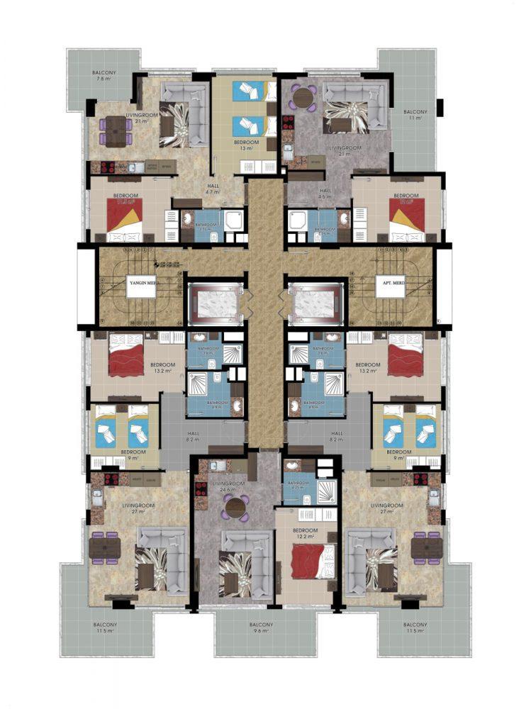 Стильные апартаменты на первой береговой линии в Махмутлар - Фото 35