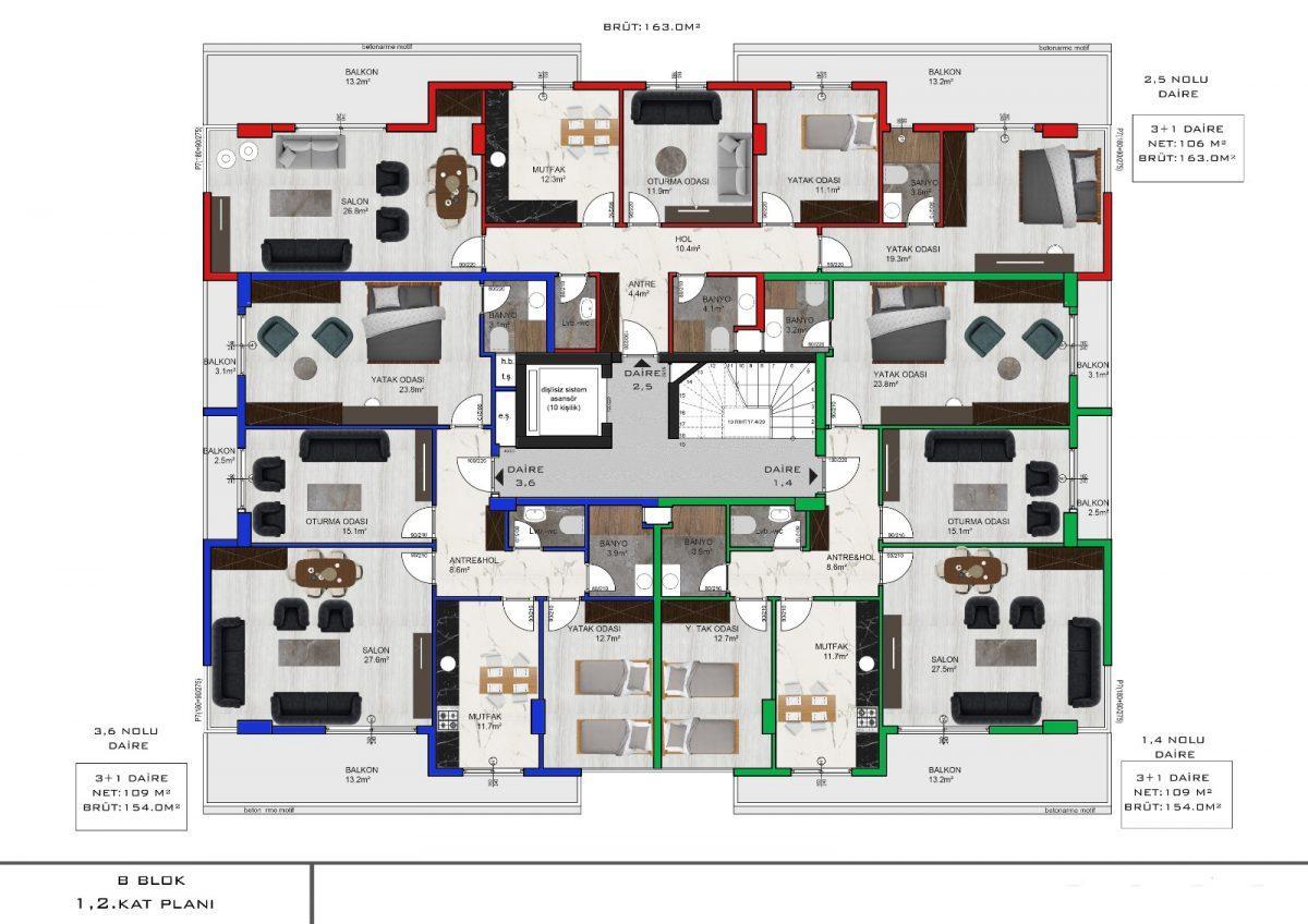 Апартаменты с отдельной кухней в новом ЖК в районе Оба - Фото 17