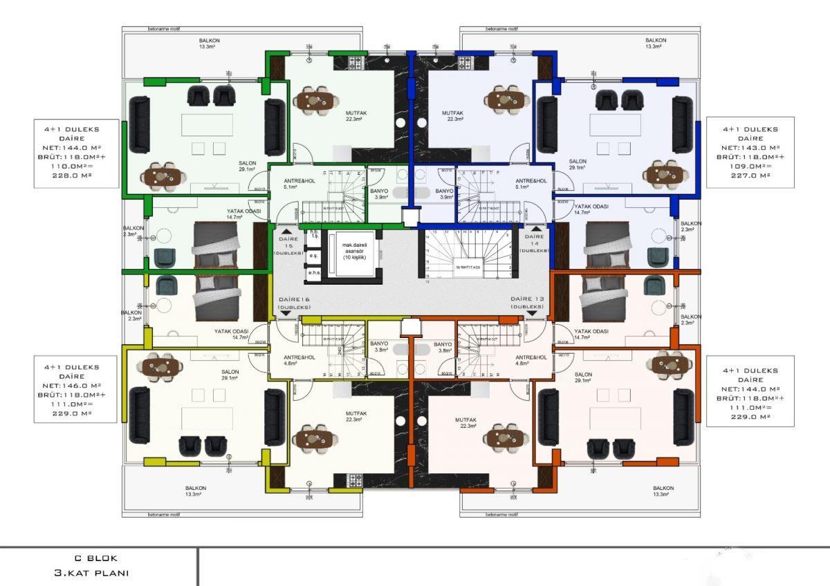 Апартаменты с отдельной кухней в новом ЖК в районе Оба - Фото 21