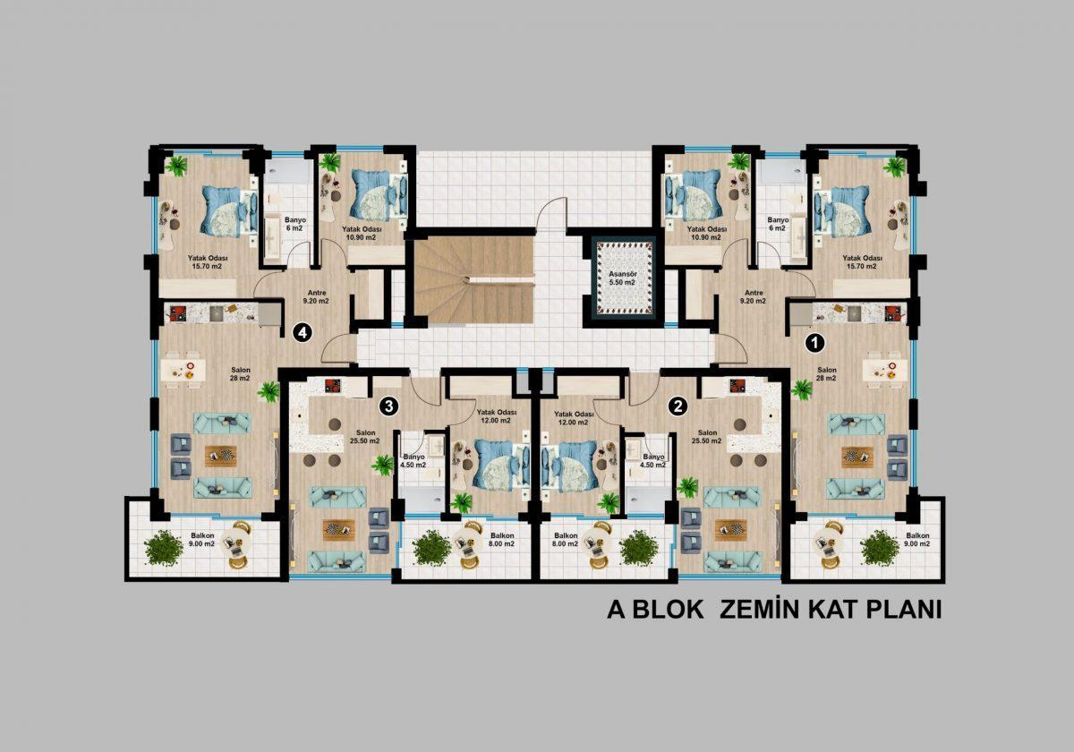 Апартаменты премиального класса  с панорамным видом в центре Алании - Фото 23