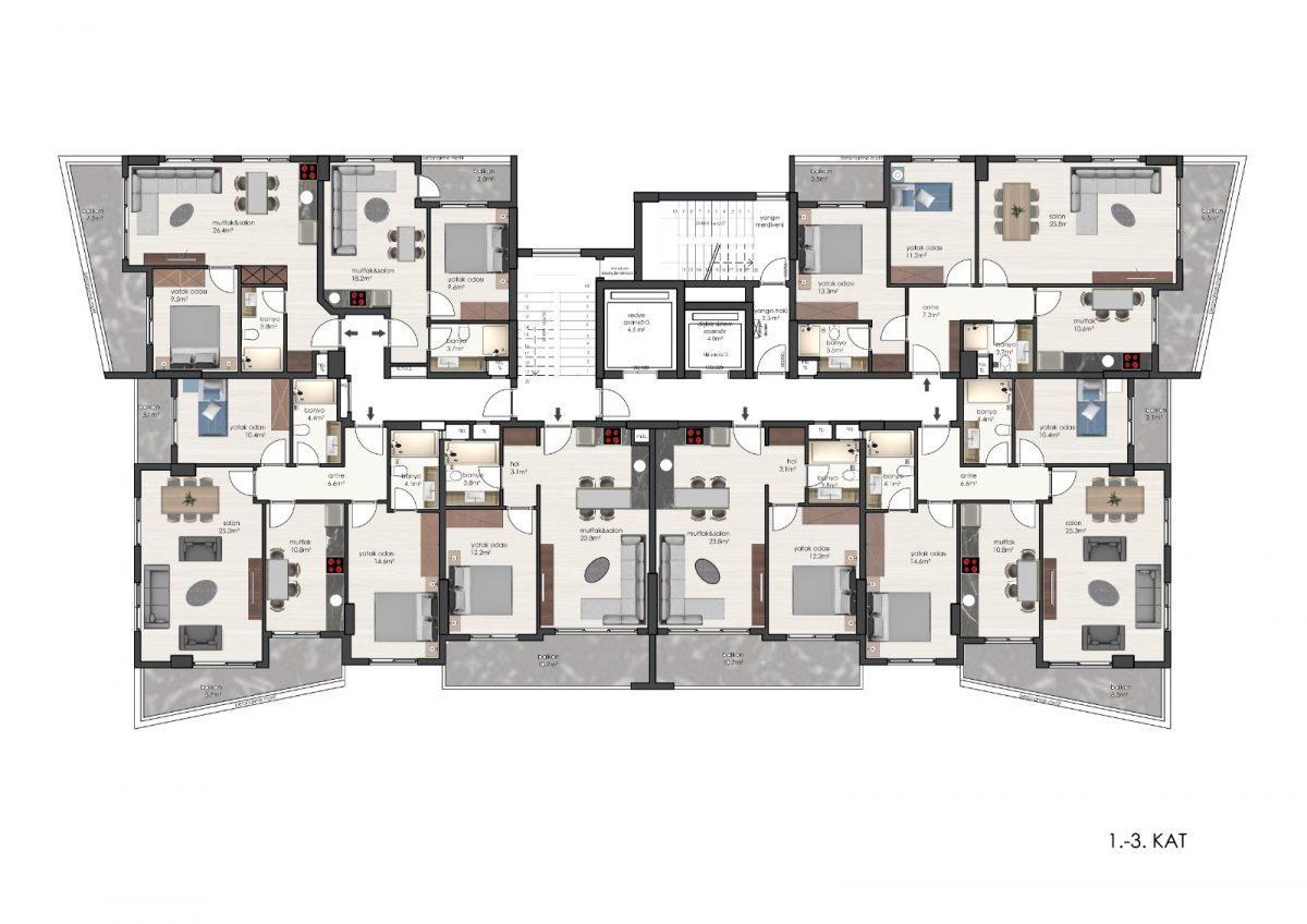 Новые квартиры в комплексе рядом с морем в Махмутларе - Фото 26
