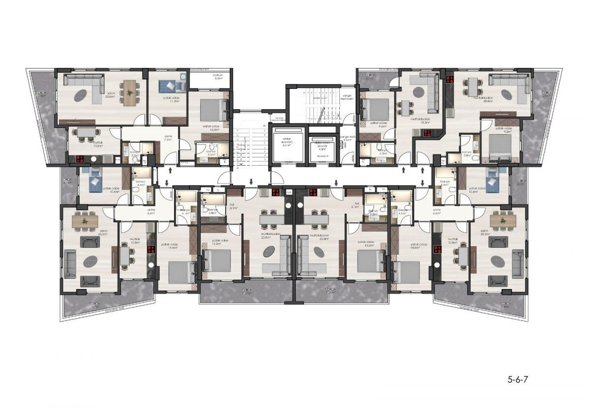 Новые квартиры в комплексе рядом с морем в Махмутларе - Фото 27
