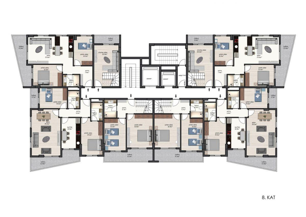 Новые квартиры в комплексе рядом с морем в Махмутларе - Фото 28