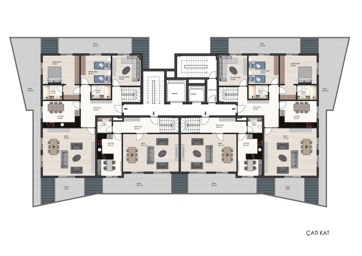 Новые квартиры в комплексе рядом с морем в Махмутларе - Фото 29