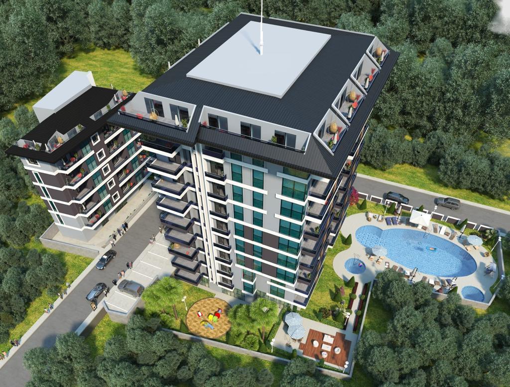 Квартиры в строящемся комплексе с хорошей инфраструктурой в Махмутларе - Фото 1