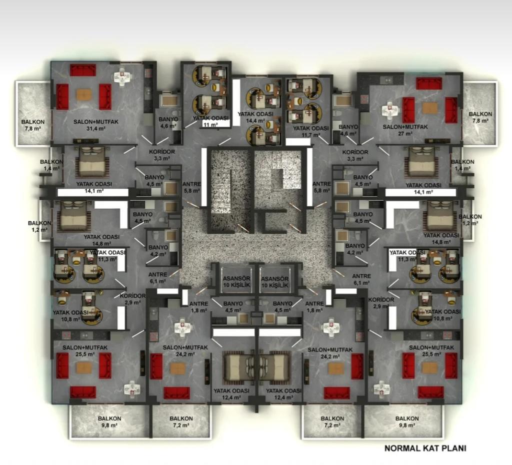 Квартиры в строящемся комплексе с хорошей инфраструктурой в Махмутларе - Фото 31