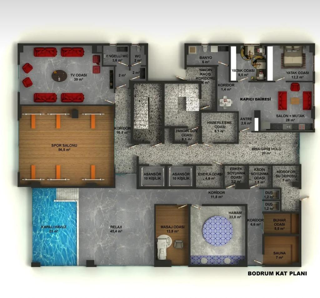 Квартиры в строящемся комплексе с хорошей инфраструктурой в Махмутларе - Фото 32
