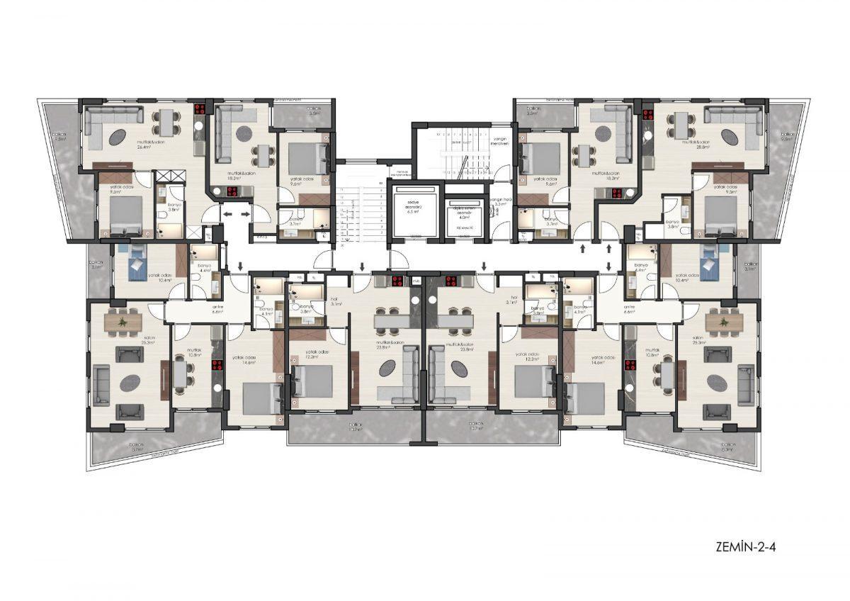 Новые квартиры в комплексе рядом с морем в Махмутларе - Фото 31